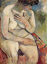 PASCIN (Jules PINCAS dit) (1885-1930) Femme assise, 1907 Huile sur toile marouflée sur carton Signée et datée en haut à droite Oil o...
