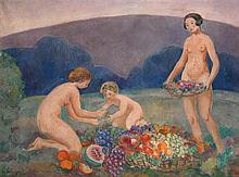 Henri Lebasque (1865-1937) Jeunes filles et enfant cueillant des fruits, 1912 Huile sur toile Signée en bas à gauche Oil on canvas S...