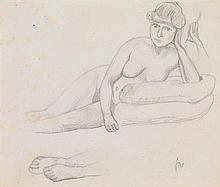 Félix Édouard Vallotton (1865-1925) Nu allongé Crayon sur papier Monogrammé en bas à droite Pencil on paper Monogrammed lower right ...