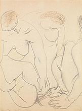 André Masson (1896-1987) Trois nus, vers 1921-1922 Crayon et pastel sur papier Signé en bas à gauche  Pencil and pastel on paper Sig...