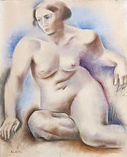 ANDRÉ LHOTE (1885-1962) Nu assis Pastel sur papier Signé en bas à gauche  Pencil on paper Signed lower left 61 x 50cm - 24 x 19 3/4 in