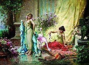 Hans Zatzka (1859-1945) Ecole autrichienne Beautes aux flamants roses  E