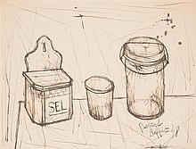 BERNARD BUFFET (1928-1999) Nature morte à la boîte à sel, verre et bocal, 1948 Encre sur papier marouflé sur carton Signée et datée ...