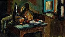 Auguste Élisée Chabaud (1882-1955) Nature morte sur un entablement Huile sur carton Signée en bas à droite Au dos, esquisse au crayo...