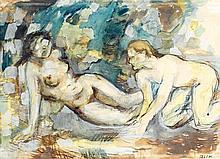 Jawad Salim (1919-1961) Femmes au bain Aquarelle et crayon sur papier Signée en bas à droite 35 x 48 cm