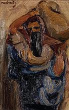 MANE KATZ (1894-1962) Religieux Huile sur toile Signée en haut à gauche 24 x 16 cm
