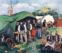 Pierre de Belay (1890-1947) Marché en Bretagne Huile sur toile Signée en bas à droite 38 x 48,5 cm