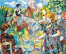 Émilio Grau Sala (1911-1975) Le paddock à Deauville, 1958 Huile sur toile Signée en bas à gauche 54 x 64,5 cm