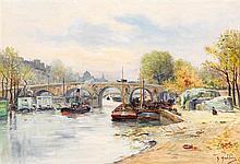 Gustave Madelain (1867-1944) Le pont neuf Huile sur toile Signée en bas à droite 56 x 79 cm