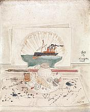 Léonard Tsuguharu Foujita (1886-1968) Encrier et coquillage, 1924 Huile sur toile Signée et datée au milieu à droite 27 x 22 cm