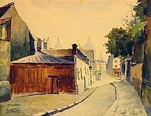 André Krafft né en 1911 Ruelle de Montmartre Aquarelle sur papier Située et signée en bas à gauche 22 x 27,5cm