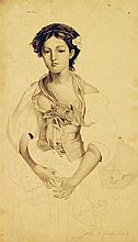 Émile Becat (1885-1960) Jeune femme au corsage fleuri Crayon sur papier Signé en bas à droite 24 x 14cm