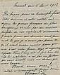 Paul DEROULEDE. 1846-1914. Écrivain, militant nationaliste, fondateur de la Ligue des Patriotes. L.A.S. et C.V. annotée à Louis Bart...