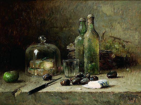 RENÉ-LOUIS CHRÉTIEN (1867-1945) Nature morte aux bouteilles, 1893