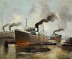 Attribué à Otto MOLLER ( 1883 - 1964) Bateaux à