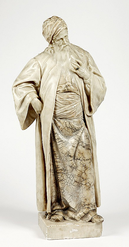 Adolf JAHN (1858-1925) Nathan le Sage Sculpture en albâtre polychrome, signée sur le côté sur la terrassePersonnage central de la pi...
