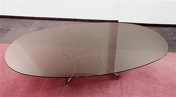 Ann es 1980 importante table basse pi tement en acier poli - Pietement table basse ...