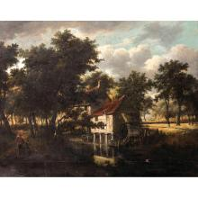 18th century Dutch school, follower of M. Hobbema, Windmill by the water, canvas extended on the inferior border with a band, unframed