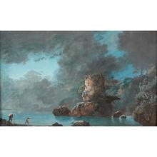 German school circa 1770, an estuary landscape with rocks and clouds