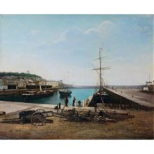 French school 1884, N. Burlin**, Honfleur harbor, original canvas, signed and dated lower right: NBurlin/1884