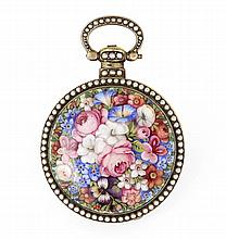 EDOUARD JUVET, FLEURIER VERS 1860 A enamel and pearls pocket watch by Edouard Juvet for the chinese market.