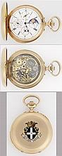 ANONYME FIN XIXe SIECLE A gold calendar minute repeater pocket watch.