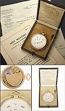 L. LEROY & Cie PARIS MONTRE DE POCHE AVEC QUANTIEME COMPLET A GUICHET A gold calendar self winding pocket watch by L.Leroy & Cie Par...