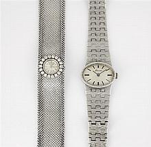 ENSEMBLE DE DEUX MONTRES DE DAME: -ETERNA Montre bracelet ruban en or gris avec lunette sertie de petits diamants. Mouvement mécaniq...