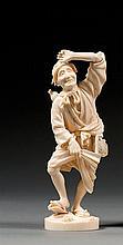 An ivory okimono, signed. Japan, Meiji period. H. 18 cm (7 1/16 in.)