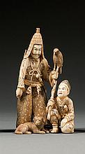 An ivory okimono, signed Chikayoshi. Japan, Meiji period. H. 13 cm (5 1/8 in.)