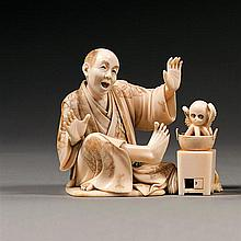 An ivory okimono, signed Muneyoshi. Japan, Meiji period. H. 7,8 cm (3 1/16 in.)