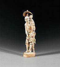 A large ivory okimono, signed Mitsuhide. Japan, Meiji period. H. 56 cm (22 1/16 in.)