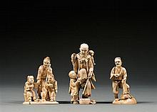 Three ivory okimono, signed Gyokusai, Masamitsu (seiko??) & Tenno.Japan, Meiji period. H. (max) 10,5 cm (4 1/8 in.)