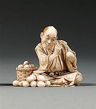 An ivory okimono, signed Seiki. Japan, Meiji period. L. 6,1 cm (2 3/8 in.)