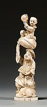 A marine ivory okimono. Japan, Meiji period. H. 28,5 cm (11 1/4 in.)
