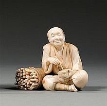 An ivory okimono, signed. Japan, Meiji period. H. 8 cm (3 1/8 in.)