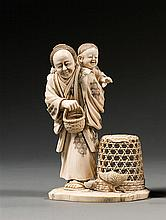 An ivory okimono, signed Shomin. Japan, Meiji period. H. 14 cm (H. 5 1/2 in.)