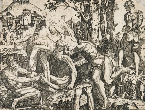MICHELE LUCCHESE LES GRIMPEURS, d'après M. A. Raimondi qui a gravé d'après Michel-Ange.