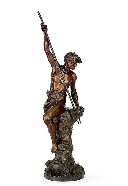 Ernest Justin FERRAND (1846-1932) Pêcheur au harpon Epreuve en bronze à patine mordorée