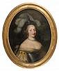 Attribué à Louis Ferdinand ELLE (Paris 1612 – 1689) Portrait de jeune femme au chapeau à plumes Toile ovale 81 x 64 cm Restaurations...