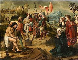 École ANVERSOISE vers 1525, entourage de barend van orley Scènes de la Passion du Christ Panneau de chêne, trois planches, non parqu...