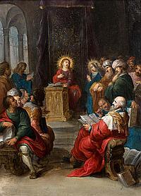 Cornelis de BAELLIEUR (Anvers 1607 – 1671) Le Christ parmi les docteurs de la loi Cuivre 22, 5 x 17 cm Restaurations