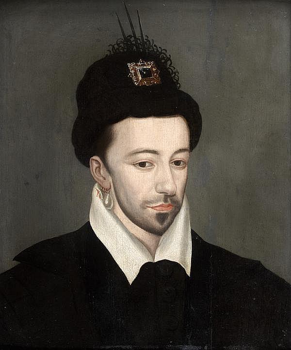 École FRANÇAISE vers 1580, entourage d'Etienne DUMONSTIER Portrait d'Henri III Panneau de chêne, une planche, non parqueté 39 x 31,5...