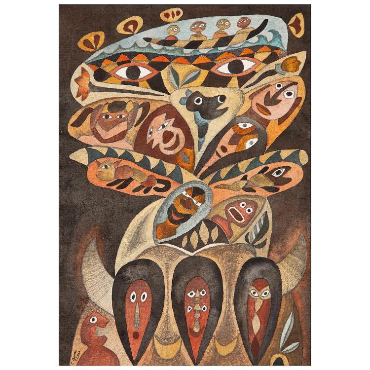 Claudine Goux (née en 1945) La marie Josèfe et les voix marines, 2014 et 2011 Watercolour and pencils on paper; signed and dated lower
