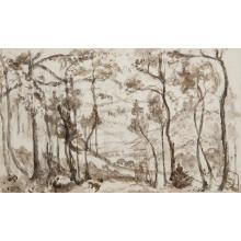 Emmanuel Victor Auguste Marie de la Villéon (1858-1944)Paysage pour conte