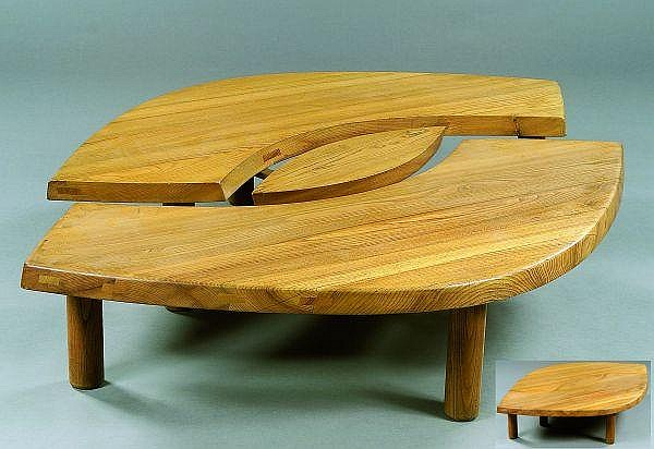 Pierre chapo 1927 1986 table basse ovale oeil en sapin - Table basse ovale blanche ...