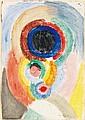 ƒSonia DELAUNAY-TERK (1885-1979) Autoportrait - Projet de couverture pour le catalogue de l'Exposition de Stockholm, 1916 Cire sur p...