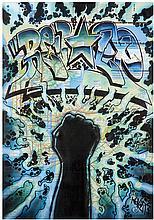 Dr. Revolt Sans titre Feutre sur plan du métro de New York Signé dans le motif Felt-tip pen on NYC subway plan Signed in the pattern...