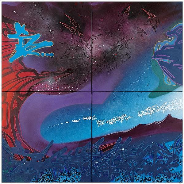 Kool Koor (Né en 1963) Double Sagittarius, 2009 Technique mixte sur 4 toiles assemblées Monogrammée, signée, datée et titrée au dos ...