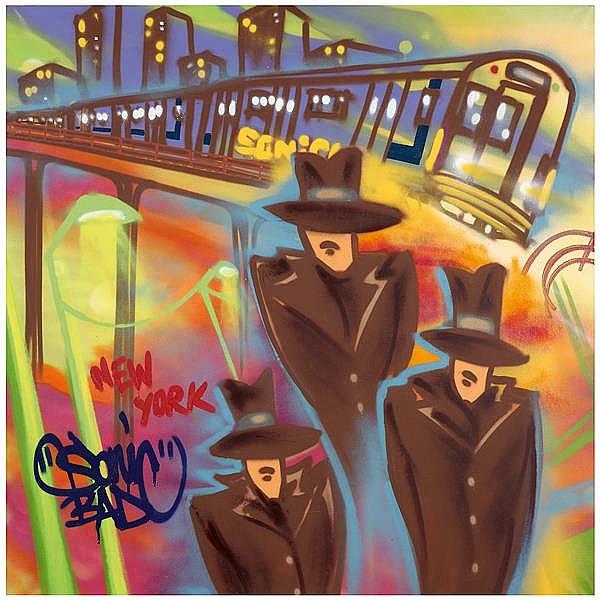 Sonic (Né en 1961) New York, 2009 Peinture aérosol sur toile Titrée et signée en bas vers la gauche Signée, titrée et datée au dos S...